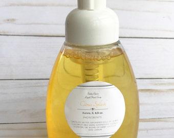 Liquid hand soap-CITRUS SPLASH-real liquid soap, vegan hand soap, natural liquid soap, natural hand soap