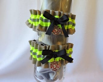 Firefighter wedding garter set of two, With optional embroidered name added to  Garter, Tan bunker gear look