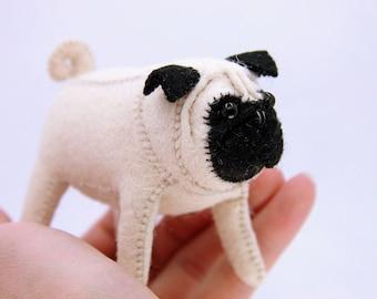 Felt Pug, Pug Hand Sewing, Pug Soft Toy, Pug Gift, Stuffed Pug, Felt Puggy, Felt Dog, Plushie Dog, Felt Dog Toy, Pocket Size, Free Shipping