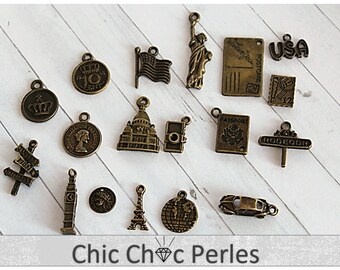 18 pcs Travel around the world Charms Antique Bronze (CO77)