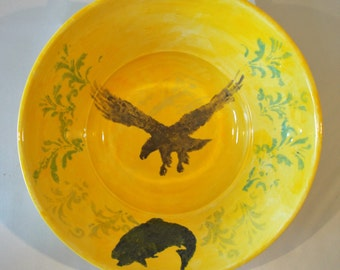 The Eagle and the Trout ceramic fruit Bowl / ceramic serving bowl