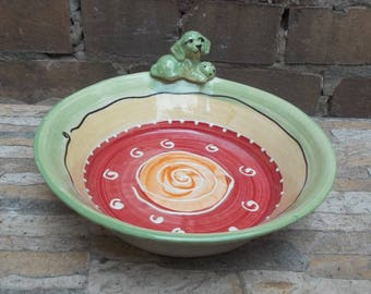 Ceramic Bowl for dogs  DOG BOWL with figure