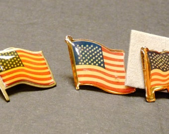 3 American Flag Tie Tacks