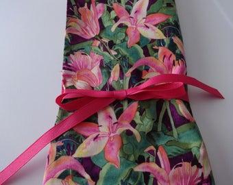 Handmade Knitting Needles and Hooks case, Knitting Needles Organizer, Case for Knitting Needles and Hooks, pink lilies, purple