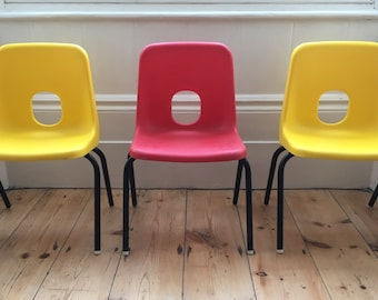 Vintage Children's Kid's Classroom School Nursery Chair Space Age Chair Yellow Red Robin Day Hille