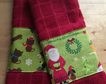 Dachshund Christmas kitchen towels, dog kitchen towels, holiday towels, bar towels