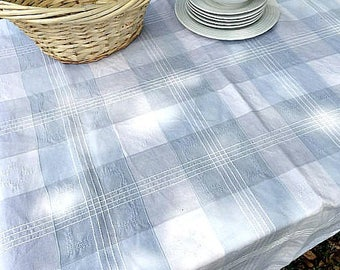 """Heavy Canvas Square Table Cloth, Outdoor Picnic Tablecloth, Checkered, French Farm House Country Linen,  Flax Linen, 46"""" x 56"""" Blues, Whites"""