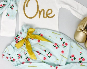 Floral Print First Birthday Outfit | 1st Birthday Girl Outfit Floral | Mint and Gold First Birthday Girl | Flower Print Pants Baby