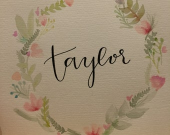 Floral Laurel Watercolor (Personalized)