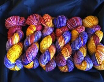 Hand Dyed Yarn, Bulky Weight Yarn, Dragon Fire