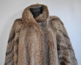 Vintage MEDIUM LENGTH FUR coat , women's fur coat ...(169)