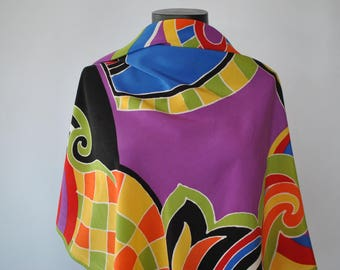 Vintage CODELLO PRINTED SILK scarf , hand rolled silk scarf ........(318)