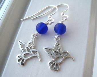 Hummingbird Earrings - Hummingbird Jewelry - Bird Earrings - Frosted Glass Earrings - Charm Earrings - Bright Blue Jewelry - Blue Earrings