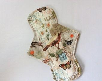 "10.25 "" Birds and butterflies  on cotton    Top reusable cotton cloth pad ( regular)"