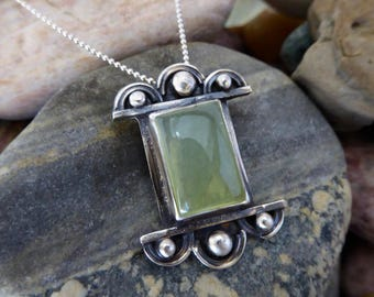 Prehnite necklace, sterling silver Prehnite  Pendant, art deco necklace, prehnite jewelry, Mod Pendant, Geometric Jewelry, Gift Idea!
