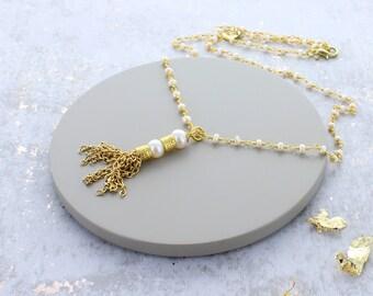 Seed Pearl Tassel Necklace