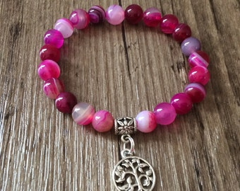 Beautiful Pink Bracelet - Buddhist Beads - Agate Bracelet
