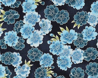 Cherry Blossoms: Blue & Gold Metallic Asian Japanese Fabric - By the Half Yard