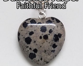 Dalmatian, Jasper, Heart, Pendant, Gemstone, Crystal, Necklace