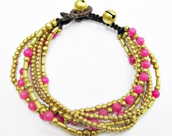 Freedom Beaded Bracelet - Pink Quartz Beaded Brass Bead Six Strands Bracelet