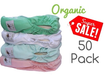 Momgaroo Organic 50 Pastel Pack Cloth Diapers Pocket One Size fits from newborn to 3 yrs old