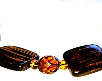 Wood and Amber Necklace