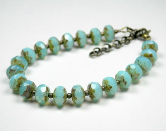 Aqua Czech Glass Bracelet, Blue Beaded Bracelet, Antique Gold, Light Turquoise Bracelet, Adjustable, Earrings Available, Gift for Her