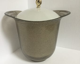 Gold Speckled Glitter Smoke Gray Lucite Ice Bucket