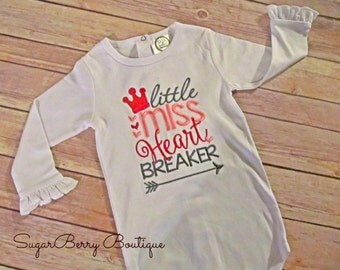 Girls Valentine shirt, heartbreaker, baby valentine bodysuit, embroidered valentine, little miss heartbreaker, valentine arrow,glitter crown