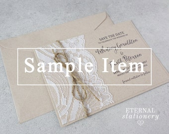 "Rustic Lace Save the Date SAMPLE - ""Whitney"" 