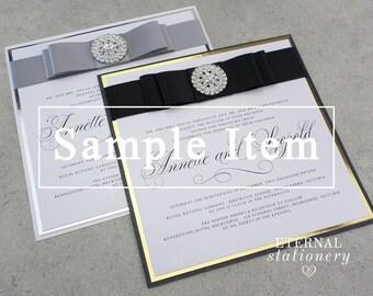 "Modern Wedding Invitation SAMPLE - ""Annette"", elegant, satin ribbon, diamante brooch"