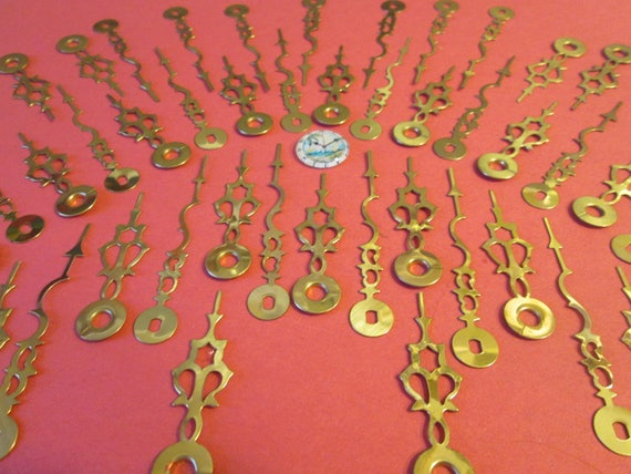 """21 Pairs of Vintage Brass Plated Serpentine Design Clock Hands - Make Clocks, Jewelry, Steampunk Art and Etc... 2 3/4"""" and 2 1/8"""""""