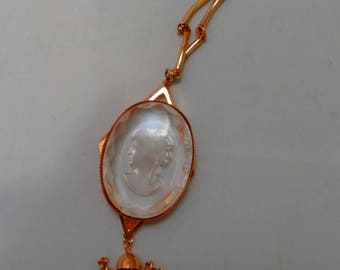 Victorian Style Gold Color Chain with Clear Plastic Cameo pendant