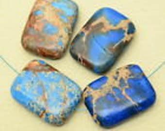 31mm  Blue Sea Sediment Jasper  31mm Rectangle Beads       Destash 31mm Imperial Jasper        Aqua Terre   31mm Focal Beads