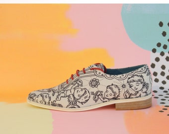 ON SALE Handmade Illustrated Women's Oxford Shoes - One of a Kind Shoes - Oxford Shoes - Leather Shoes - Dress Shoes - Women White Shoes