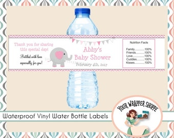 Pink ELEPHANT Baby Shower Water Bottle Labels Personalized Birthday Party Favors VINYL WATERPROOF It's a Girl