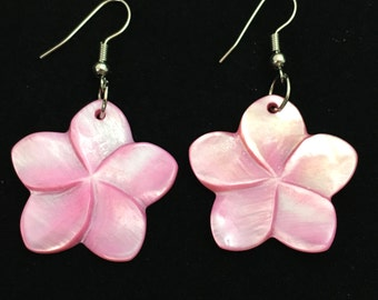 Pink Shell Flower Earrings, Iridescent Pastel Plumeria 5 Petal Floral Earrings, Carved Pink Shell Jewelry, Dangle Natural Earrings, Tropical