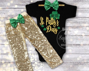 1st St. Patricks Day Outfit Baby Girl St. Pattys Day Bodysuit & Gold Pants Baby Girl St. Patricks Day, Black and Gold, St. Paddy's Day Shirt