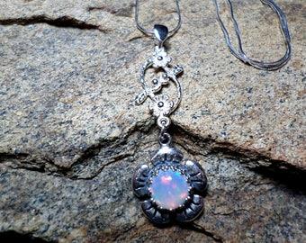 Ethiopian Wello Opal,Bezel Pendant, Opal Bezel Necklace, Fine Jewelry, Sterling Silver Necklace, Opal Necklace, Opal Jewelry