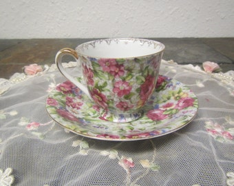 M.B. Occupied Japan Tea cup and Saucer  set ** flower design