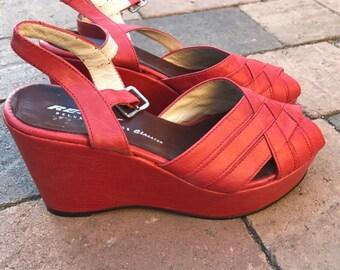 Repro disco rockabilly leather platform shoes