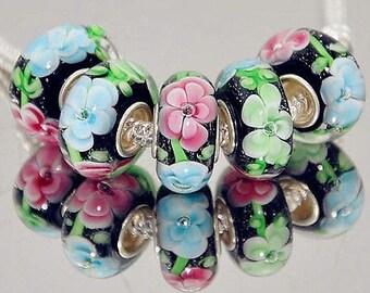 Green Pink Blue Black Murano Glass Bead .925 Silver Core Fits All European Charm Bracelet Snake Chain Bracelet BettyGiftStore