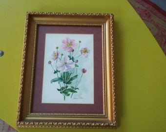 Vintage Original Watercolour Pink Flowers in  Thick Gilt Frame.