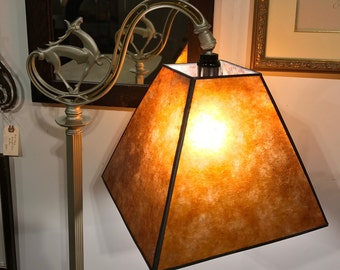 1930's Art Deco-Nouveau Bridge Arm Floor Lamp with Mica shade - PICK UP ONLY
