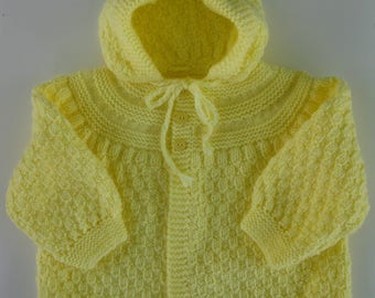 Hand  Knitted Yellow  Checked Hooded Sweater 12 to 18 mos. READY to SHIP!!