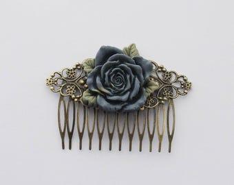 Blue Rose Hair Clip, Blue Rose Hair Accessories, Something Blue, Blue Flower Hair Clip, Wedding Hair Comb, Woodland Fascinator