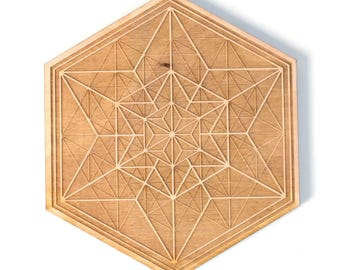 Asanoha Alchemy - Wooden Crystal Grid - Design By Decah