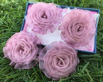 5 psc Light Pink Organza Flowers, Organza Roses,aproxx 67 mm