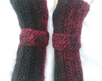 Crochet Fingerless Gloves-Thick and Cozy Black N Red