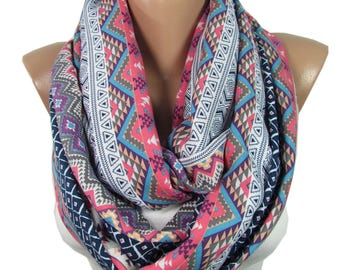 Tribal Scarf Boho Infinity Scarf Hipster Scarf Bohemian Women Accessories Aztec Scarf Birthday Gift For Her For Women For Friends Girlfriend